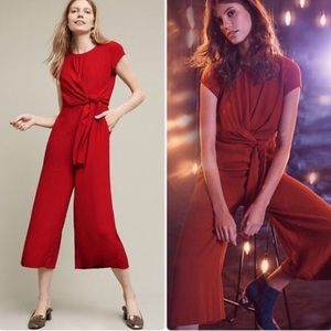 Anthropologie Maeve Grier Red Midi Jumpsuit